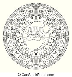 New year and Christmas theme. Black and white graphic doodle hand drawn sketch mandala for adult, kids coloring book. Gifts, balls, garlands, Santa Claus with ethnic patterns.