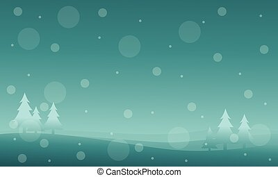 New year and Christmas winter landscape silhouettes