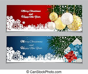 New Year and Merry Christmas Background. Vector Illustration