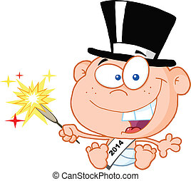New Year Baby Cartoon Character