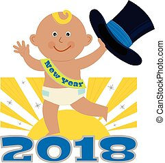 New Year Baby - Cute cartoon of a New Year baby holding a...