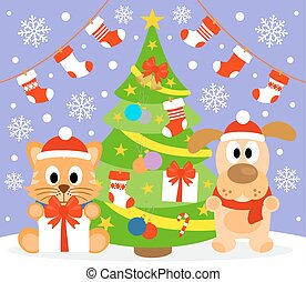 New Year background with animal