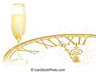 New Year Background with Champagne and Golden Dial