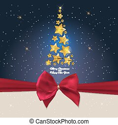 New Year Background with Christmas Tree. Vector Illustration