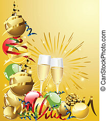 New year background with glasses and balls