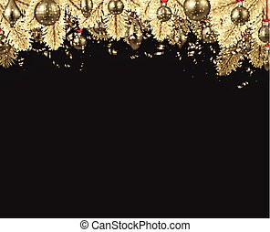 New Year background with golden Christmas balls.