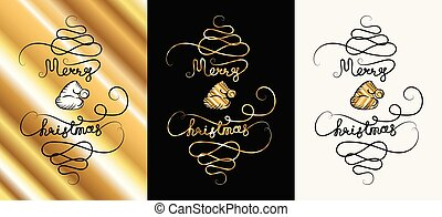 New Year Background with Hand Drawn Merry Christmas Continuous