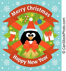 New Year background with penguin