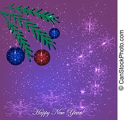 New Year. Balls on the branches of a Christmas tree. Vector illustration on a purple background