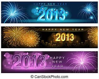 New Year Banner Set - Fireworks Background Illustration, Vector