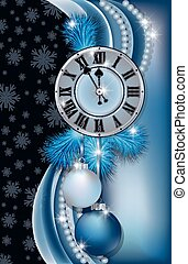New Year banner with clock