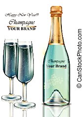 New Year blue champagne bottle and glasses card. Vector realistic illustration