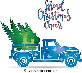 New year blue truck, (decorated with snowflakes), bear Christmas tree, cartoon on white background,