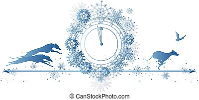 New Year border with dogs, raven and clock