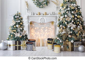 New Year bright room or hall with Christmas decor