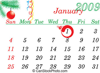 New Year calendar page January 2009. The 1-th day is...