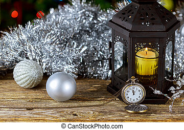 New Year Candle Retro Clock, Vintage Leather Suitcases, Old Fashioned Christmas Tree Decorations,