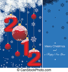 new year card 2012 in blue