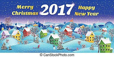 New year card 2017 - 2017 Winter rural landscape to a happy...
