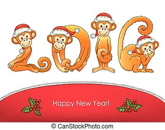 New year card monkey