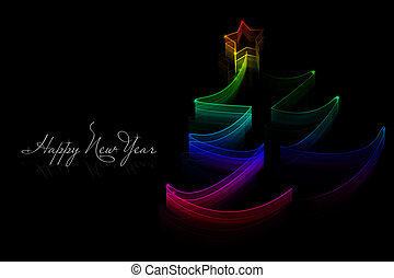 New Year card on the black