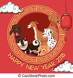 New year card template with dogs in round frame