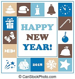 New Year card vector illustration with icons