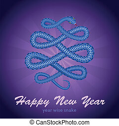 New Year card with a snake (symbol of 2013 year)