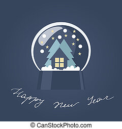 New Year card with a snow globe