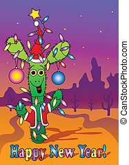 New Year card with cactus