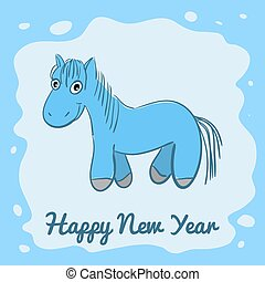 New year card with cartoon horse