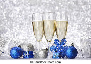 New year card with Champagne and decoration close-up