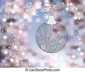 New year card with christmas ball