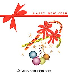 New Year Card with Christmas Balls and Candy Canes