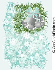New year card with Christmas bells,