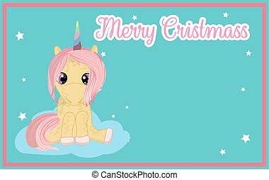 New year card with cute pink unicorn. There is a place for your text..