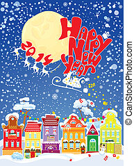 New Year card with flying rein deers on sky background - 2014