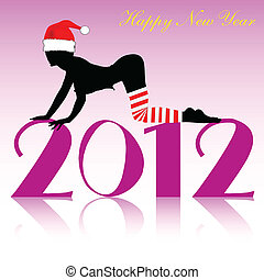 new year card with girl silhouette