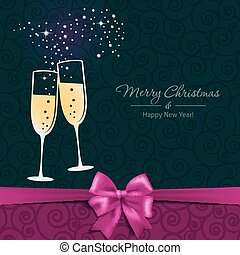 New Year card with glasses of champagne