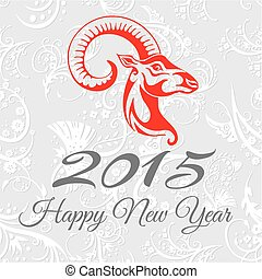 New year card with goat. vector illustration
