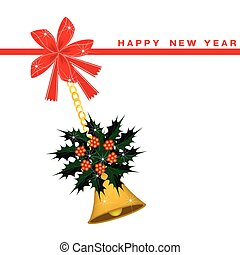 New Year Card with Golden Bell and Christmas Holly