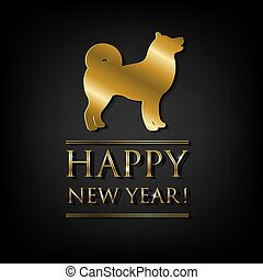 New Year Card With Golden Dog