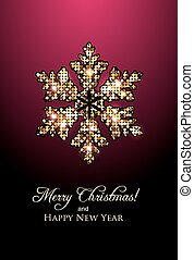New Year card with golden snowflake