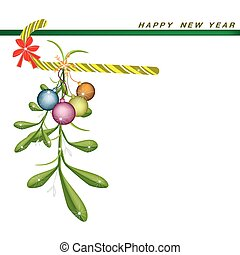 New Year Card with Mistletoe with Candy Cane