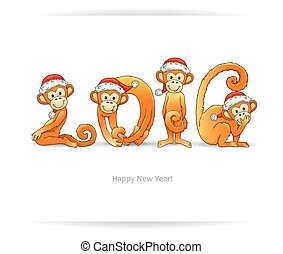 New Year card with monkey in Santa hat