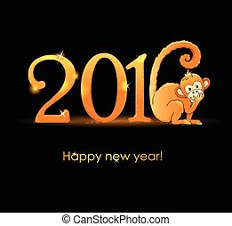 New Year card with monkey2