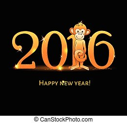 New Year card with monkey4