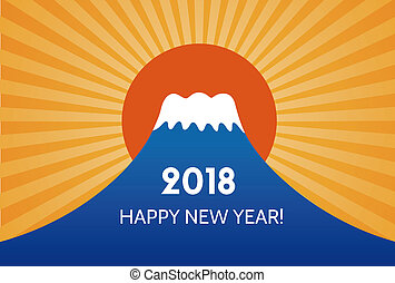 New Year card with Mt.Fuji for year 2018