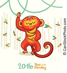 New Year card with Red Monkey for year 2016 - Vector...
