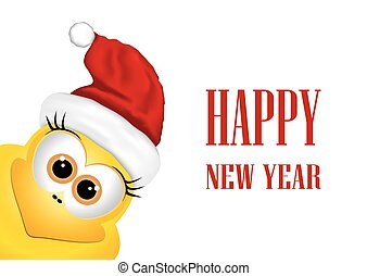 New year card with rooster.